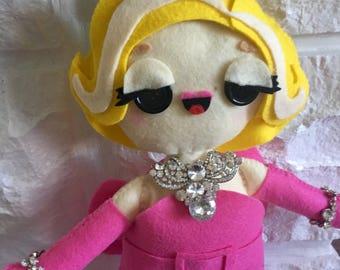 Marilyn Monroe Doll - Gentleman Prefer Blondes - Diamonds Are A Girls Best Friend - Ready to Ship