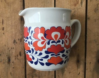 Vintage pitcher, Pitcher norway white red, Blue Egersund pitcher, Retro tabletop, Scandinavian pottery, Mid century modern, Gift for her