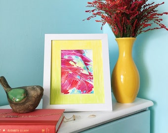 Neon Dragon, Mixed Media Artwork, Original Art, Ready to frame, 8 x 10, Abstract Art, Acrylic Art, Vibrant Lines Collection 2 of 9