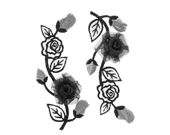 Black Flowers Iron On Applique, Flower Applique, Silver Flowers Iron On Patch, Floral Patch, Flower Patch, Wedding Patch, Embroidered Patch