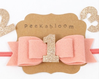 Birthday Bow Headband- Glitter Bow Headband- Wool Felt Bow- Over Sized Wool Felt Bow- Birthday Headband- Peekabloom
