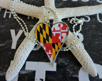 Pendant Jewelry,Heart Necklace, Heart Pendant, Maryland Flag, Sterling Silver, Decoupage Jewelry, Silver Heart, Marland,