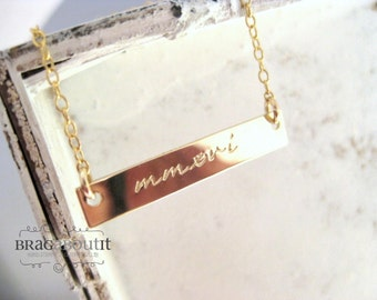 Gold Bar Necklace . Hand Stamped Jewelry . Personalized Necklace . 14K Gold Filled Name Necklace . Brag About It