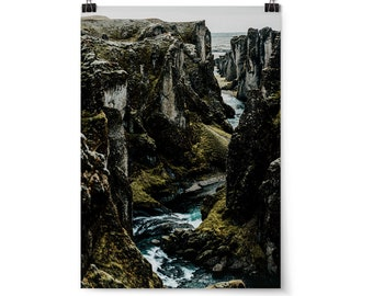 "Large Wall Art, Landscape Photography, Iceland Art Print, Neutral Wall Art, Home Decor, Iceland, Travel Decor, ""Fjaðrárgljúfur"""