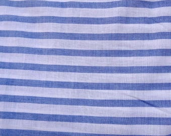 Fabric, cotton, white with blue stripes, wide
