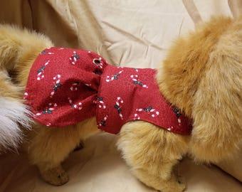Candy Cane Christmas Dog Dress / Dog Clothes