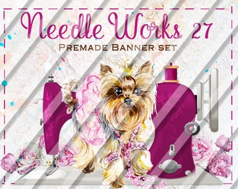 """Etsy Shop Banner Set - Graphic Banners - Branding Set - """"Needle Works 27"""""""