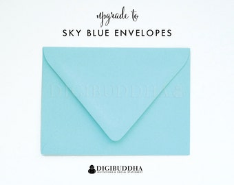Upgrade to SKY BLUE ENVELOPES Matte Light Aqua Add-On for any digibuddha Invitations or Thank You Cards. Wedding Bridal Shower Baby Shower