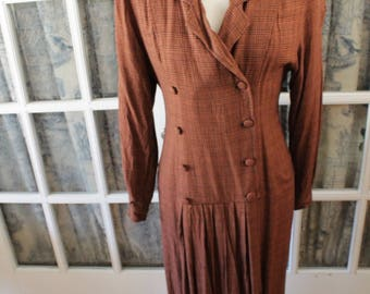 1980's does 1940's Brown Plaid Ann Young Dress