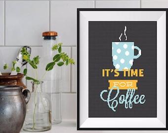 Coffee Cross Stitch Pattern Coffee Lover Funny cross stitch coffee Modern Cross Stitch Quote Cross Stitch But First Coffee Modern Embroidery
