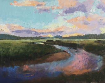 "Original Sunset Landscape Painting, Western Landscape 9x12"""