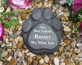 Personalised Paw Print (Stone Effect) - Pet Memorial - Weatherproof - Personalised