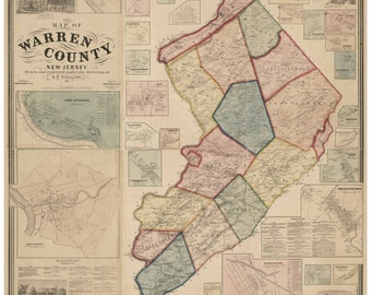 Warren County  New Jersey 1860 Old Wall Map -  Reprint with Homeowner Names