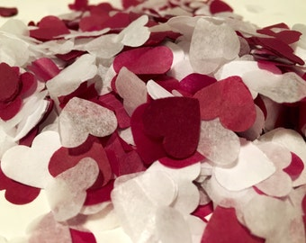 Burgundy red and white heart wedding confetti - biodegradable