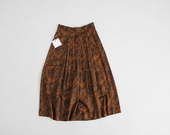 bronze floral skirt | 90s floral skirt | autumnal floral print skirt