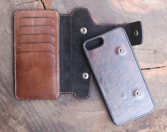 Personalized Leather iPhone Wallet, iPhone Case for iPhone 6, 7, 8, 6 Plus, 7 Plus, 8 Plus or iPhone X, Leather iPhone Case,Holiday Gift