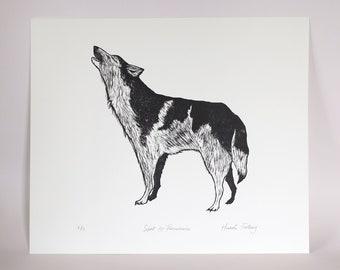 Wolf 'Spirit & Perseverance' Linocut Print