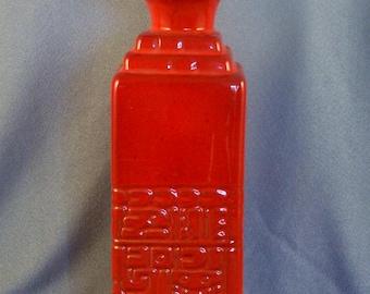 Rotes Quadrat Keramik Flaschenvase / / eingeschrieben Dekoration / / geschnitzt Dekor / / Nutzung als Vase / / oder Lagerung Flasche