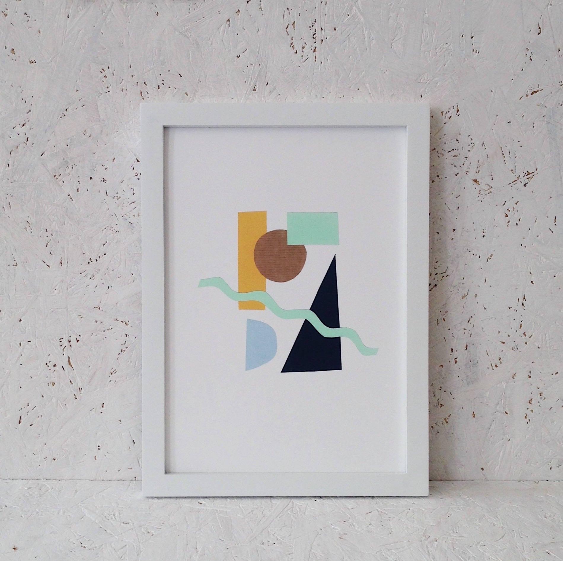 Geometrische Formen A4 drucken Kunstdruck Collage Stil