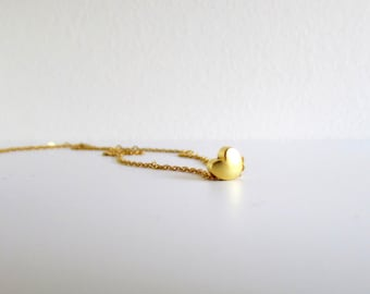 Tiny Heart Necklace, Dainty Gold Necklace, Gold Heart Necklace, Dainty Heart Necklace,Love Charm Necklace,Heart Jewelry,Layer Short Necklace
