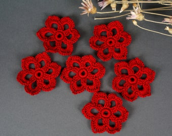 Crochet flower, Knitted flower, 6 pcs, Flower application, Crochet flower motif,  Scrapbooking flower, Decorate  flower, Cloth accessory.