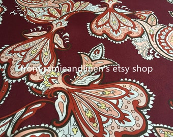 """silk fabric, double georgette mulberry silk fabric, paisley print, dress fabric, scarf fabric, half yard by 44"""" wide"""