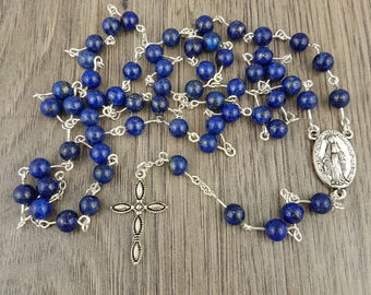 Silver Lapis Lazuli Rosary, includes Gift Box