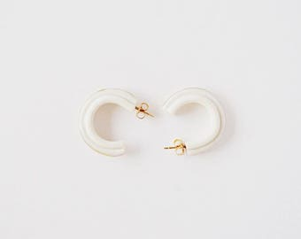 Porcelain Loop Hoop Earrings