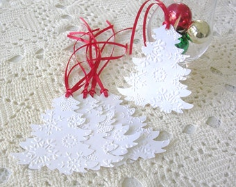 Christmas Gift Tags - Embossed GiftTags Handmade - White Christmas Tree Gift Tags - Set of 6 Double Layer Holiday Tags