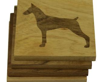 Doberman Pinscher Coasters- Set of 4 Engraved Acacia Wood Coasters