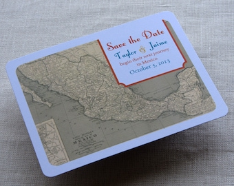 Mexico Wedding Save the Date Postcard - Mexican Vintage Map - Destination Travel Theme - SAMPLE