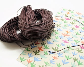 Set of 2 meters brown waxed cotton cord 1 mm