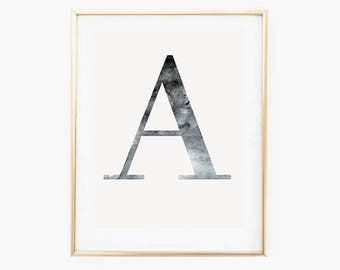 Custom Letter Print, Initial Prints, Office Wall Art, Modern Typography Wall Art, Initial Print Download, Letter Art Print,Minimalist  Print