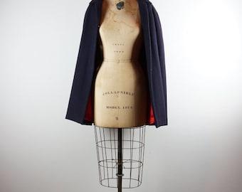 1960s Vintage mod  navy + red wool capelet | over coat | jacket | swing- s/m