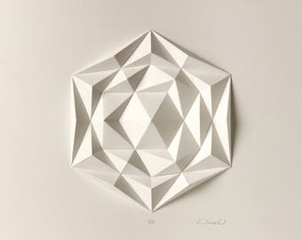 Icosa3M2 White Wall Art Folded Paper Crystal Mosaic Relief Modern Geometric Abstract Sculpture Created by Kubo Novak