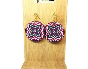 Fabric Wax120 round earring