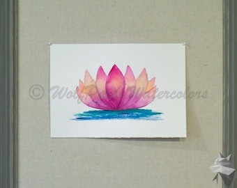 Lotus - Waterlily Sunset Flower Original Watercolor Painting