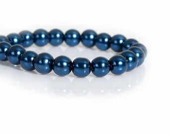 110 Blue 8mm Glass Pearls