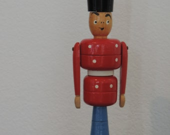 Vintage Danish Wood Soldier Toy Soldier In the Style of Kay Bojesen Denmark Toy soldier Red Soldier
