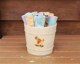 Painted Wood Bucket, Vintage Ivory Painted Bucket, Storage Bucket, Barrel Planter, French Country Pail
