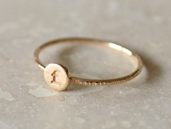 Custom Initial Ring, Gold Initial Ring, Personalized Stacking Letter, Gold-Filled, Monogram, Stackable, Bridesmaid