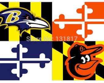 Maryland Flag 3' x 5' Polyester Baltimore Ravens Baltimore Orioles