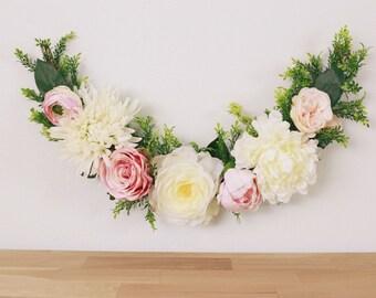 Flower garland, bohemian flower garland, baby shower banner, floral wall hanging, chair garland, floral garland, highchair banner