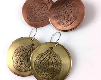 Hydrangea Petal Earrings, Handmade Jewelry,  Copper or Brass Earrings