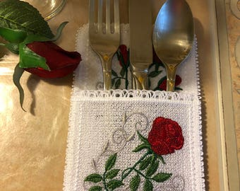 Cutlery Holder Silverware Set Lace and Roses Of 4 Mother's Day Gift