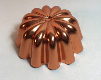 Vintage Copper Jello Mold Wall Hanging, Fluted Jello Mold