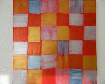 "Acrylic painting ""Red checkerboard"""