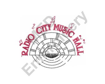 Radio City Music Hall - Machine Embroidery Design, Music