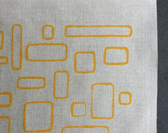 windows - screenprinted fabric panel, yellow on linen basecloth