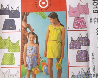 Mccalls 4019 Girls Tops,Skorts,and Shorts Pattern Girls Size 3-6 One Easy Pattern 6 Greats Looks